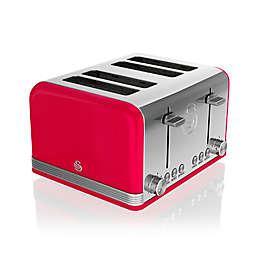 Swan Retro 4-Slice Toaster in Red