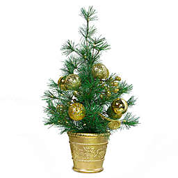 Easy Treezy 20-Inch Faux LED Christmas Tabletop Tree with Gold Decor
