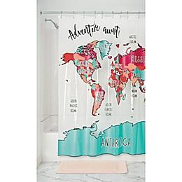 Travel Map PEVA Shower Curtain in Magenta/Teal