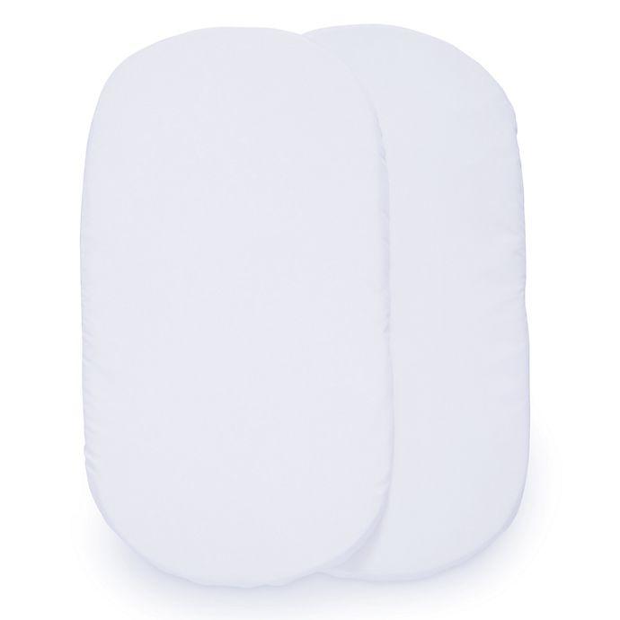 Alternate image 1 for Delta Children 2-Pack Fitted Bassinet Sheets in White