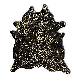 Natural Rugs Scotland Cowhide 6-Foot x 7-Foot Area Rug in Black and Gold