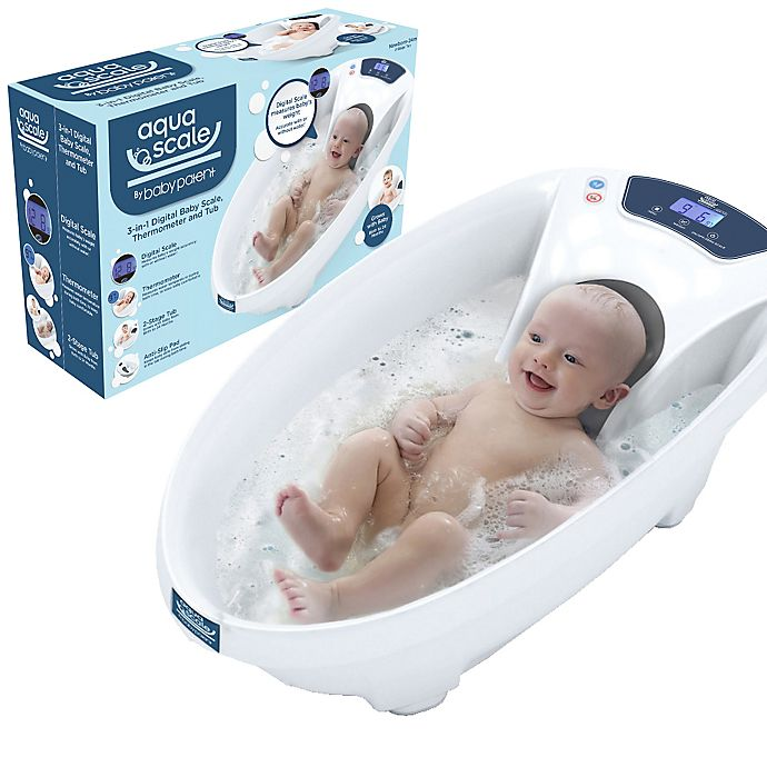 Alternate image 1 for Baby Patent® AquaScale 3-in-1 Scale, Water Thermometer and Bathtub in White