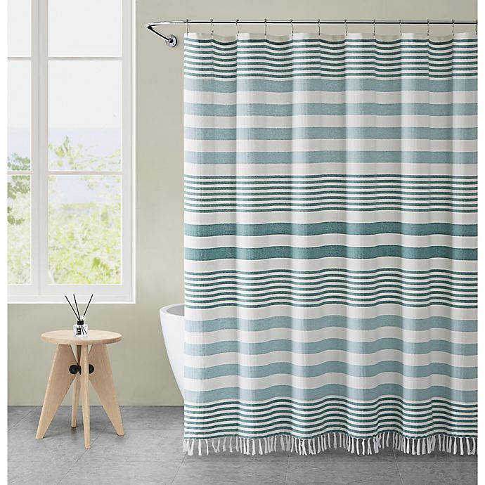 Alternate image 1 for VCNY Home 72-Inch x 72-Inch Margot Stripe Tassel Shower Curtain in Aqua