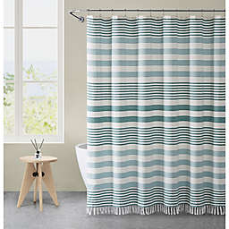 VCNY Home 72-Inch x 72-Inch Margot Stripe Tassel Shower Curtain in Aqua
