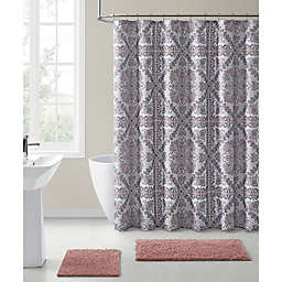 VCNY Home 72-Inch x 72-Inch Anshula Medallion Shower Curtain in Pink/Grey