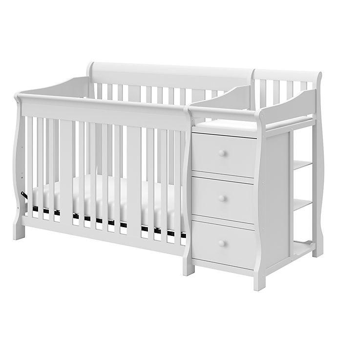 Alternate image 1 for Storkcraft™ Portofino 4-in-1 Convertible Crib and Changer in White