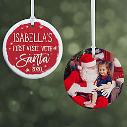 Visit with Santa 2.85-Inch Porcelain Christmas Ornament in Red