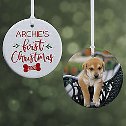 Dog's First Christmas 2.85-Inch 2-Sided Porcelain Christmas Ornament in White