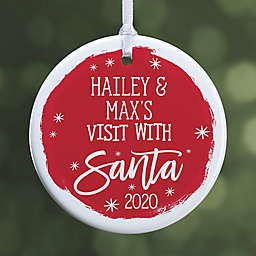 Visit with Santa 2.85-Inch 1-Sided Porcelain Christmas Ornament in Red