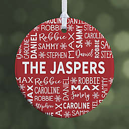 Family Christmas 2.85-Inch 1-Sided Porcelain Christmas Ornament in Red/White