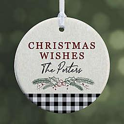 Festive Foliage 2.85-Inch 1-Sided Porcelain Christmas Ornament in Grey