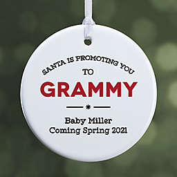 """""""Promoted to..."""" 2.85-Inch 1-Sided Porcelain Christmas Ornament in White"""