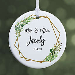 Geo Prism Wedding 2.85-Inch Porcelain Christmas Ornament