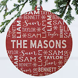 3.75-Inch Personalized Family Wooden Christmas Ornament in Red/White