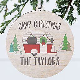3.75-Inch Personalized Christmas Camper Wooden Ornament in Grey