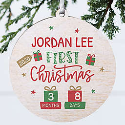 Baby's First Christmas 3.75-Inch Wooden Christmas Ornament in White