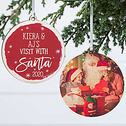 3.75-Inch Visit With Santa Personalized Wood Dual-Sided Christmas Ornament