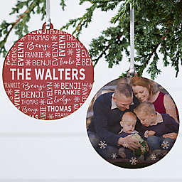 3.75-Inch Family Personalized Double-Sided Wood Christmas Ornament in Red/White