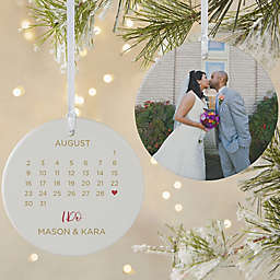 A Date to Remember 3.75-Inch Matte 2-Sided Porcelain Christmas Ornament
