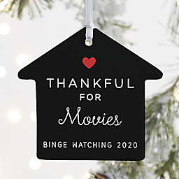 """""""Thankful For"""" 3.25-Inch Porcelain House Ornament in White<br />"""