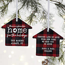 """""""There's No Place Like Home"""" 3.25-Inch 2-Sided Porcelain House Ornament"""