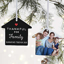 """""""Thankful For"""" 3.25-Inch 2-Sided Porcelain House Ornament in White<br />"""