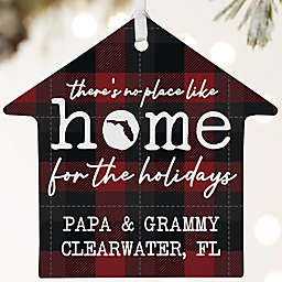 """""""There's No Place Like Home"""" 3.75-Inch Porcelain House Ornament in White"""