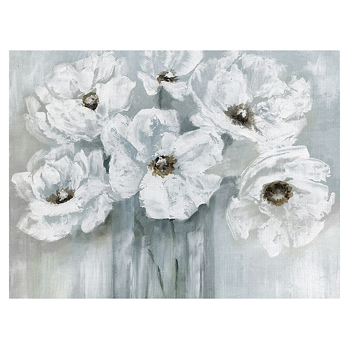 Alternate image 1 for Masterpiece Art Gallery White Poppy Bouquet on Grey  Canvas Wall Art