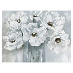 Masterpiece Art Gallery White Poppy Bouquet on Grey  Canvas Wall Art