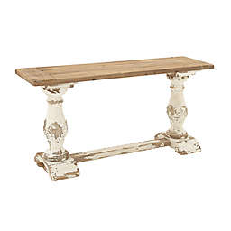 Ridge Road Décor Carved Base Console Table in Distressed White
