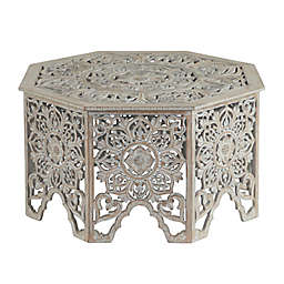 Ridge Road Décor Carved Wooden Coffee Table in Light Grey