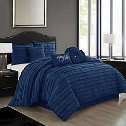 Nanshing Diana 7-Piece California King Comforter Set in Navy