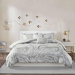 Intelligent Design Rebecca Metallic 5-Piece Duvet Cover Set in Grey/Silver