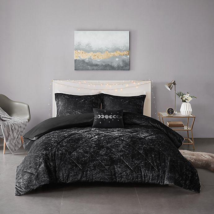 Alternate image 1 for Intelligent Design Felicia Velvet 4-Piece Duvet Cover Set in Black