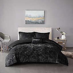 Intelligent Design Felicia Velvet 4-Piece Duvet Cover Set in Black