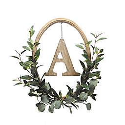 Bee & Willow™ Home 20-Inch Monogram Oval Wood Hoop Wreath with Faux Greenery