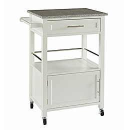 Mitchell Kitchen Cart with Granite Top in White