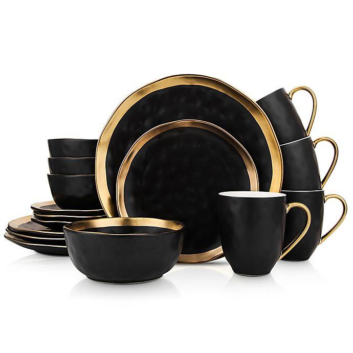 Alternate image 1 for Stone Lain Gold Rim 16-Piece Dinnerware Set in Black/Gold