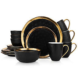 Stone Lain Gold Rim 16-Piece Dinnerware Set in Black/Gold