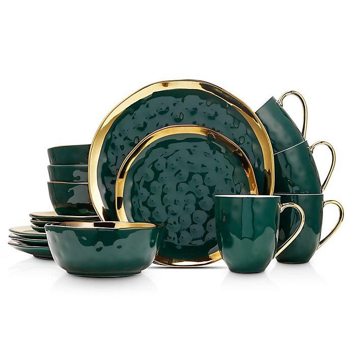 Alternate image 1 for Stone Lain Gold Rim 16-Piece Dinnerware Set in Green/Gold
