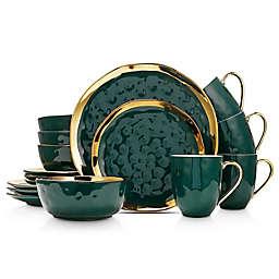 Stone Lain Gold Rim 16-Piece Dinnerware Set in Green/Gold