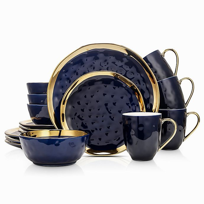 Alternate image 1 for Stone Lain Gold Rim 16-Piece Dinnerware Set in Navy/Gold