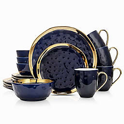 Stone Lain Gold Rim 16-Piece Dinnerware Set in Navy/Gold