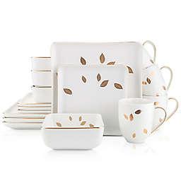 Stone Lain Gold Leaf 16-Piece Dinnerware Set in White