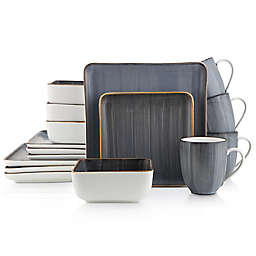 Stone Lain Brushed Square 16-Piece Dinnerware Set in Grey