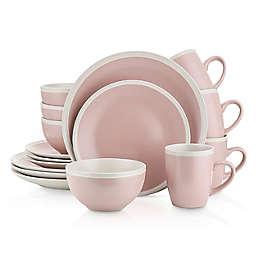 Stone Lain Round 16-Piece Dinnerware Set in Pink/Cream