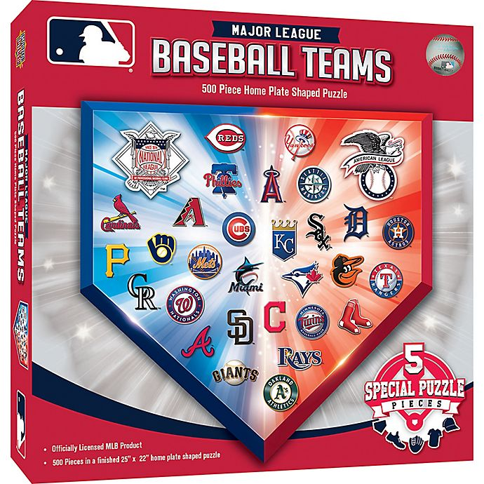 Alternate image 1 for MLB 500-Piece Home Plate Shaped Jigsaw Puzzle