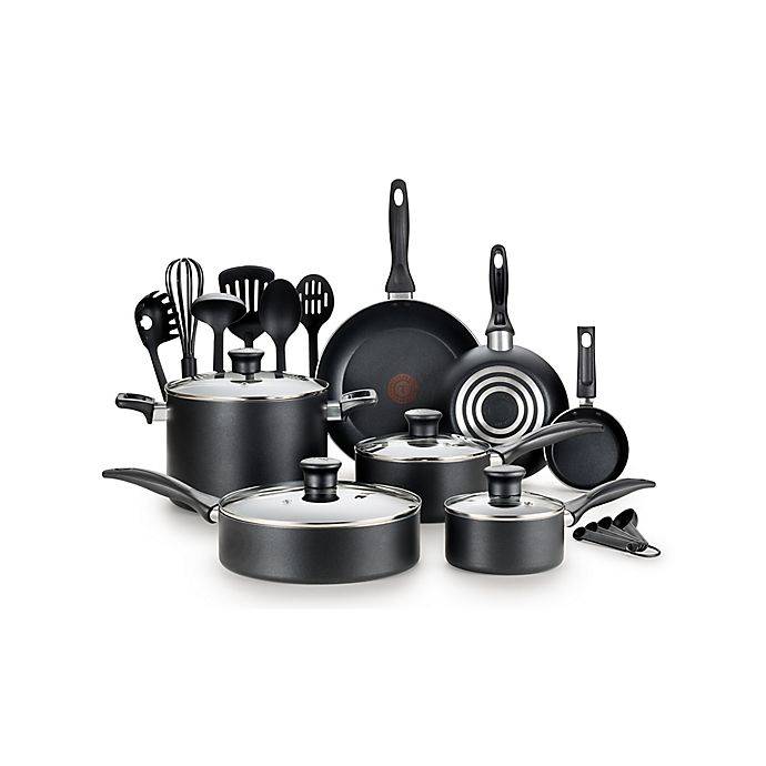 Alternate image 1 for T-fal® Pure Cook Nonstick Aluminum 18-Piece Cookware Set in Black
