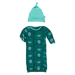 KicKee Pants® 2-Piece Cedar Crabs Hat and Convertible Gown Set in Green