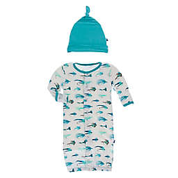 KicKee Pants® Newborn 2-Piece Fishing Flies Hat and Convertible Gown Set in Blue